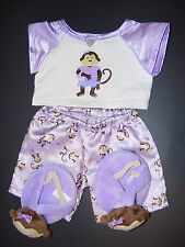 Build a Bear Clothes Clothing Outfit Purple Monkey Pajamas w/ Slippers