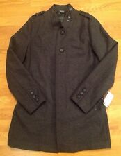 NWT! GUESS Men's Trench Coat Size Small S Peacoat Black Gray Jacket