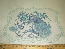 """~2 PIECE~""""PEACOCKS"""" BIRDS~ EMBROIDERED PILLOW PANEL UPHOLSTERY FABRIC FOR LESS~"""