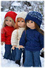 "Knitting Pattern Archipelago textured sweater w/hat for 18"" American Girl dolls"