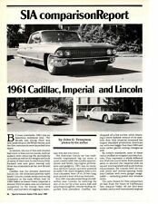1961 CADILLAC - IMPERIAL - LINCOLN ~ GREAT 8-PAGE COMPARISON ARTICLE / AD