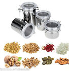 4pcs Stainless Steel Canister Spice Storage Jar Set Kitchen Cans Pots Organizer