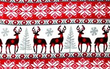CHRISTMAS CHECKED DEER, GREY SNOWFLAKES & TREES FLEECE MATERIAL 2 YDS 60X72""