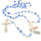 Iridescent Blue crystal glass rosary beads on sterling silver chain cross in box