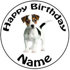"""Perro De Cumpleaños Personalizados-Jack Russell Redondo 8"""" fácil Precortada Glaseado Cake Topper"""