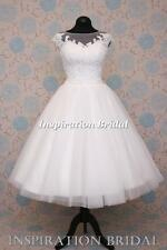 UK 1546 short 50s 60s wedding dresses tea length knee embellished corded lace