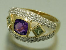 R214- Genuine 9K 9ct Solid Gold NATURAL Amethyst, Perid & Diamond Trilogy Ring