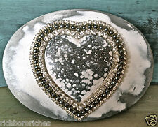 HEART pewter white 3 rows crystals oval Belt Maison Handmade belt buckle NEW 4x3