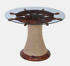 Nautical Wheel Table Ship Boat Steering Pirate Decor Wood Glass Round Furniture
