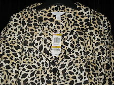 NWT Charter Club Women's 3X Leopard Flannel Pajama's Long Sleeve/Pant Winter