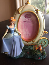 Disney Store Cinderella Oval Frame Coach & Gus & Jacque Mice Water Snow Globe