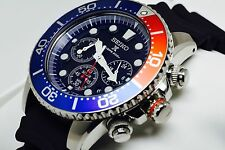New Seiko SSC031 Solar Chronograph Rubber Strap Blue Dial Divers Men's Watch