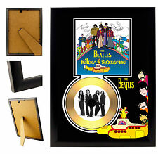 BEATLES  - A4 SIGNED FRAMED GOLD VINYL COLLECTORS CD DISPLAY PICTURE