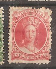 NOVA SCOTIA 1863 10c QUEEN Vittoriano Nuovo di zecca a battente (alcuni Browning) w9403