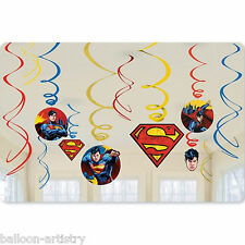 12 DC Comic Book SUPERMAN Superhero Child's Party Hanging Swirls Decorations