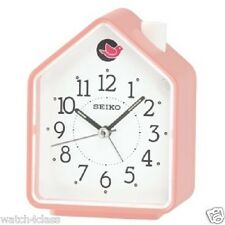 [Seiko] 2 Bird Songs bedside Alarm Clock quiet QHP002P,Pink House cute+FREE SHIP