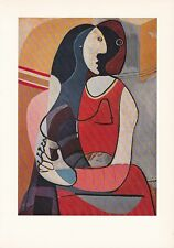 "1955 Vintage ""SEATED WOMAN"" PABLO PICASSO Color Art Plate offset Lithograph"