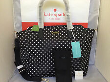 NWT Kate Spade Blake Avenue Black Diamond Polka Dot Taden BABY Bag Tote Travel