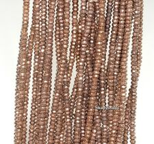 3X2MM BRONZE HEMATITE  GEMSTONE BRONZE FACETED RONDELLE 3X2MM LOOSE BEADS 15.5""
