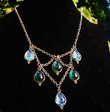TEMPLE ST CLAIR INCREDIBLE EMERALD GREEN GEM BLUE BIB STATEMENT DROP NECKLACE