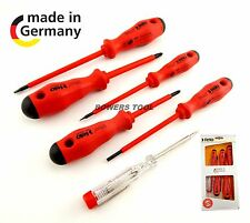 Felo 6pc Insulated Screwdriver Set Phillips Flat Slotted Electrician Germany