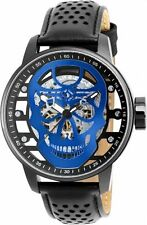 New Invicta 20197 48mm Skeletal Blue Skull Mechanical S1 Rally Leather Watch