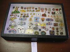 Set of 80+ Pinbacks Amer Legion, Red Cross, KOC, etc in Riker Case - see photos