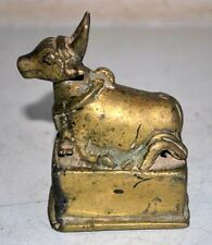 1800's India Antique Brass Hand Carved Hindu Pooja Sitting Nandi Cow Statue