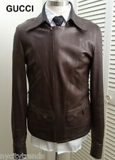 GUCCI leather jacket brown asymmetrical western motorcycle military nr slim L 42