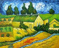 "Van gogh Replica Oil Painting ""Cottages with Thatched Roofs"" - 24""x20"" Stretched"