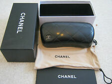 100% AUTH. NEW CHANEL BLACK EYEGLASS CASE BOX , POUCH BAG, CARD SET