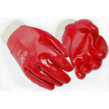 10 Pairs of Fully Red PVC Coated Knitted Wrist Rubber Gloves, Size 10