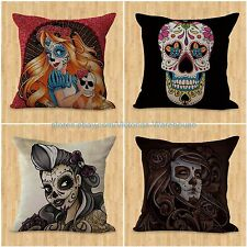 set of 4 decorative throw case cushion covers women sugar skull Day of the Dead