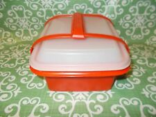 Vintage Tupperware Bright Red White Lid Luch Box or 1/2 Gal Ice Cream Keeper +pi