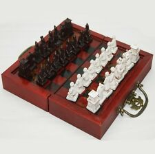 small 32 piece chess,CHINESE Terracota Warrior,GIFT box set Qin Army Travel game