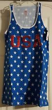 New Womens Snooze Button USA Patriotic Star Sleep Shirt Sleeveless Night Gown XS