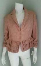 INC INTERNATIONAL CONCEPTS Pink Tweed Ruffled Bustle Blazer Jacket sz M NWT