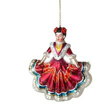 Senorita Mexican Girl Glass Ornament with Glitter Accents New Christmas