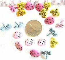 Novelty Buttons Scrapbooking Tiny Lady Bugs Garden Bees Dragon Flies  #11