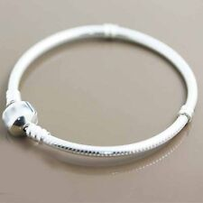 8.2 Inches Silver Plated Charms Snake Chain Bracelet For European Beads Jewelry
