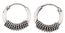 925 Sterling Silver 10mm Tribal Wrap Bali Hoop Earrings