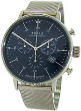 RUHLA Chronograph Germany Edelstahl Milanaise men´s chrono watch blau Garde 42mm