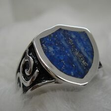 Route Sign Natural GOLD & Blue Lapis Lazuli Ring for Harley Davidson Biker 32