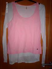 Tee-shirt IKKS ICODE 2 en 1 rose blanc taille L ou 40