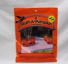 NEW HALLOWEEN SIX STUFF A PUMPKIN ORANGE DECOR OUTDOOR LAWN LEAF BAG SEASONAL