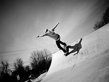 ART PRINT PHOTO SPORT SKATEBOARDING SKATER RAMP JUMP AIR BLACK WHITE LFMP0255
