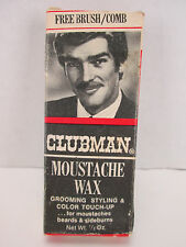 Vintage Clubman Moustache Wax with Box and Brush/Comb Neutral White 1/2 oz