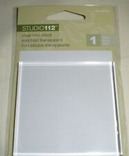 "NEW Studio 112 Clear ACRYLIC BLOCK -  Rubber Stamps 2 1/2"" x 2 1/2"" x 1/4"""