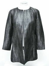 Eileen Fisher Silver Gray Linen Silk Cotton Open Front Long Jacket Coat Size PS