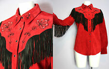 CRIPPLE CREEK Red Soft Suede Western Embroidered Fringed Shirt Jacket S